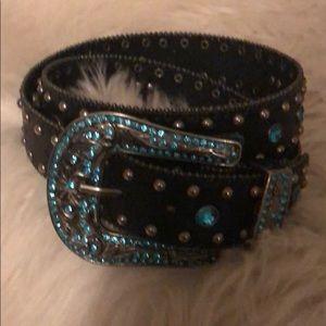 Accessories - Western style blue rhinestone belt